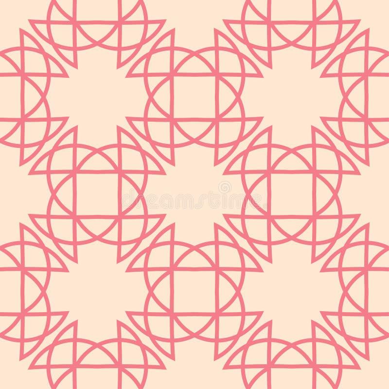 Rött och beige geometriskt tryck seamless modell royaltyfri illustrationer
