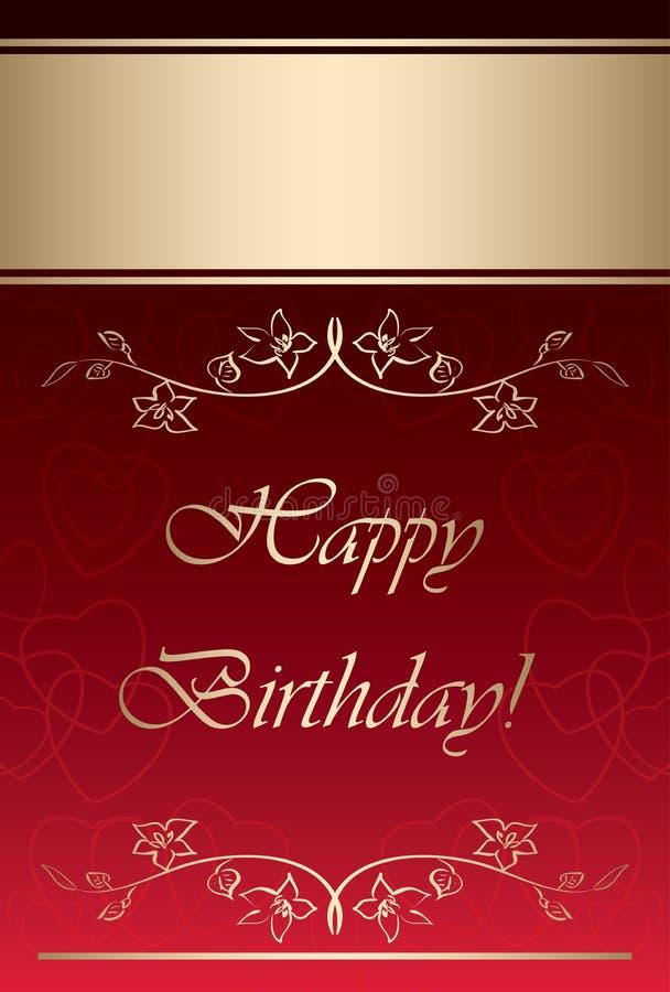 Rött och guld- vektorkort - lycklig födelsedag vektor illustrationer