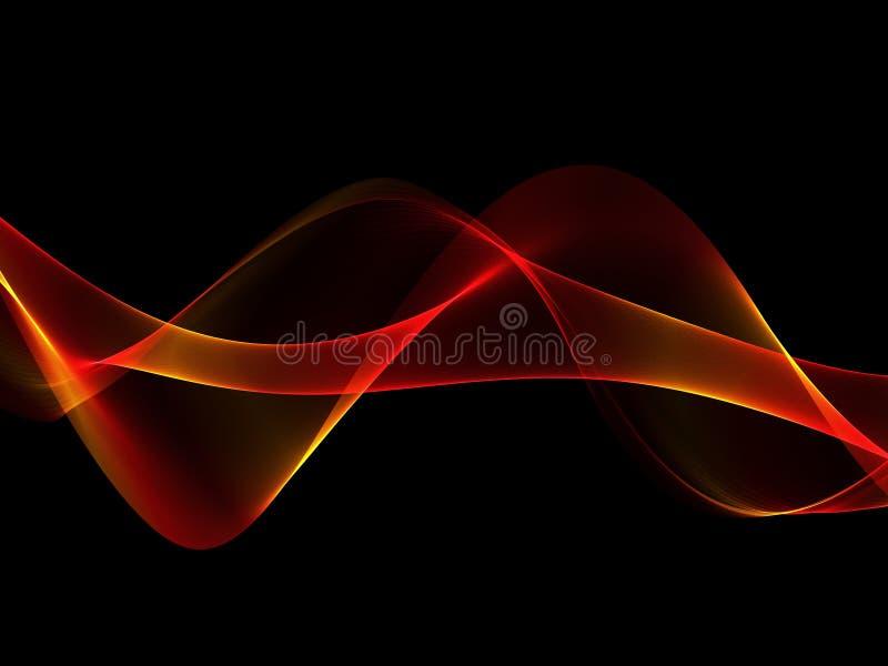 Rött och orange vågband för abstrakt glöd på mörk bakgrund royaltyfri illustrationer