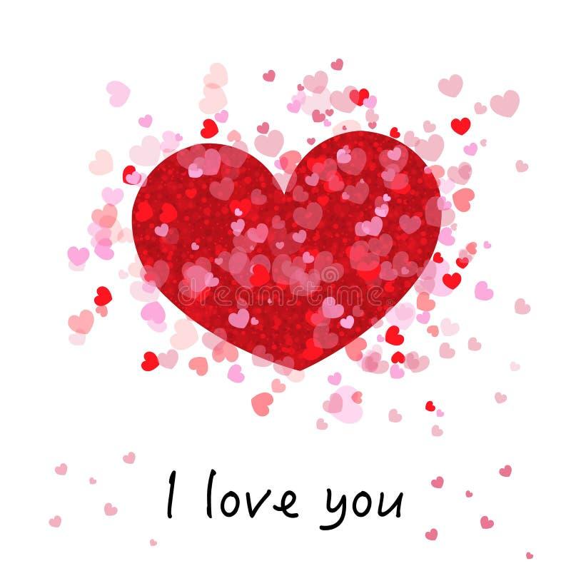 Rött och rosa glänsande för gullig romantiker många hjärtor `` älskar jag dig `` text greeting lycklig s valentin för kortdag royaltyfri illustrationer