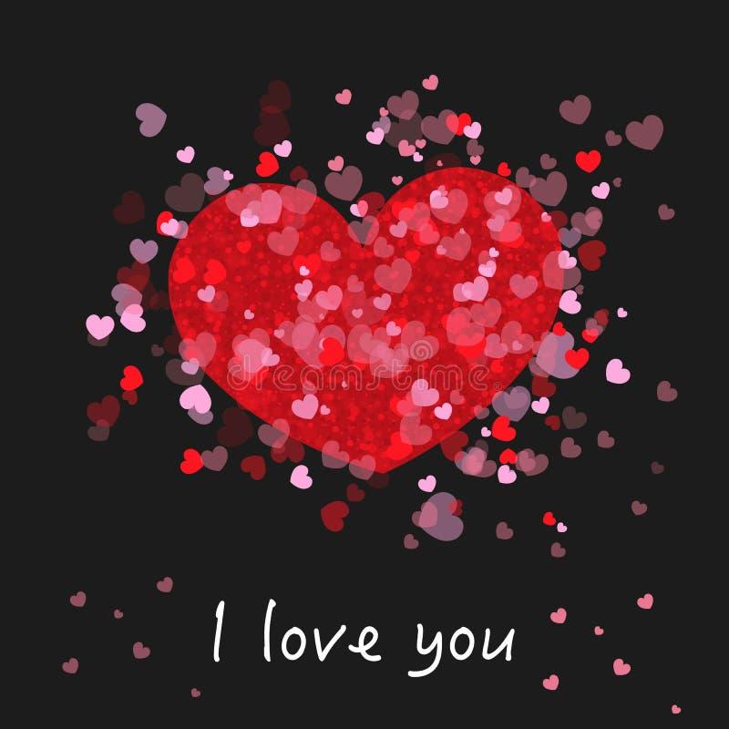 Rött och rosa glänsande för gullig romantiker många hjärtor `` älskar jag dig `` text Lyckligt valentin kort för daghälsning med  stock illustrationer