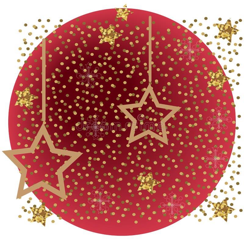 Rött och silver som mousserar festlig bakgrund för ljus med textur stjärnor stock illustrationer