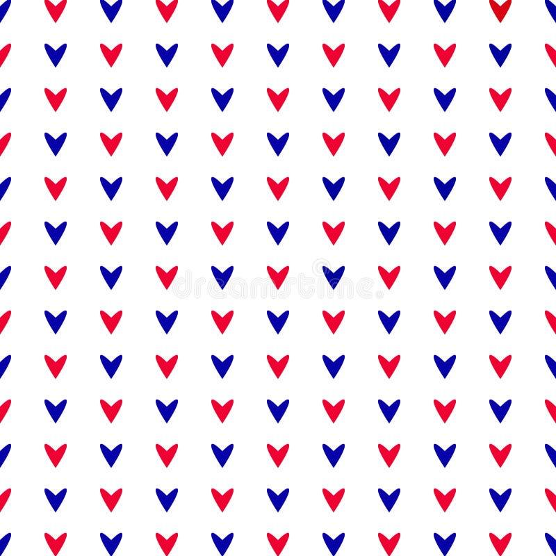 Rött och slösa hjärtor seamless modell stock illustrationer