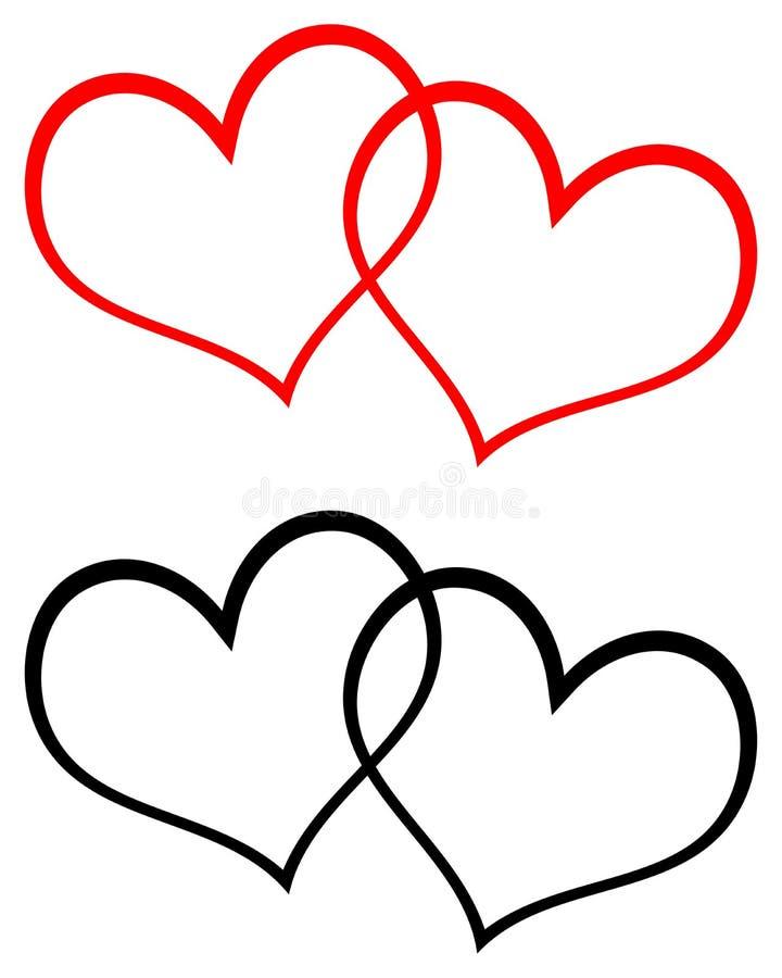 Rött och svärta gemkonst för två hjärtor vektor illustrationer