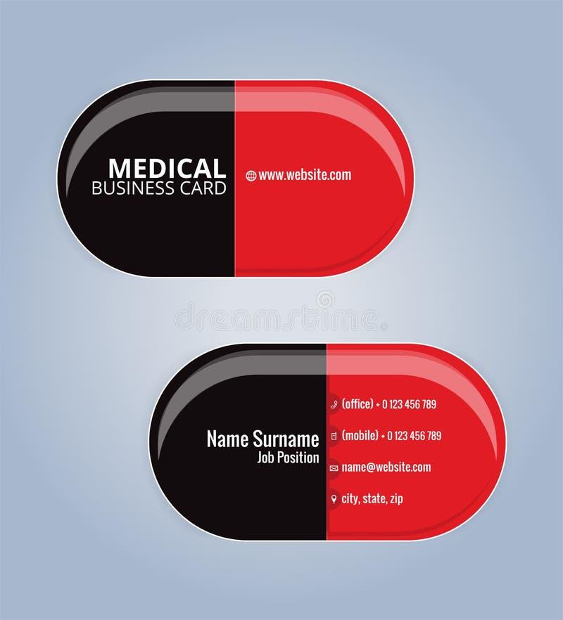 Rött och svärta mallen för kortet för drogkapselaffären royaltyfri illustrationer