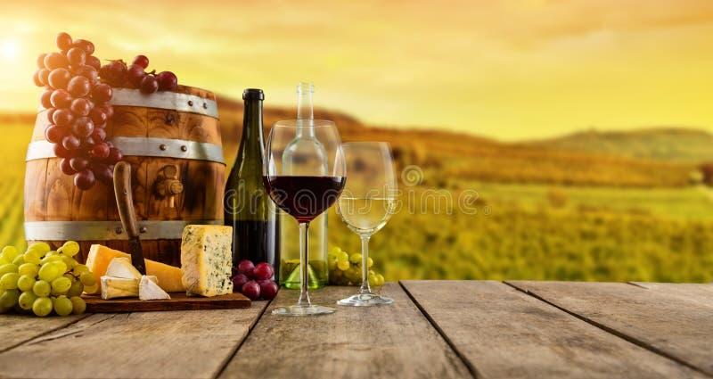Rött och vitt vin tjänade som på träplankor, vingård på bakgrund royaltyfri foto