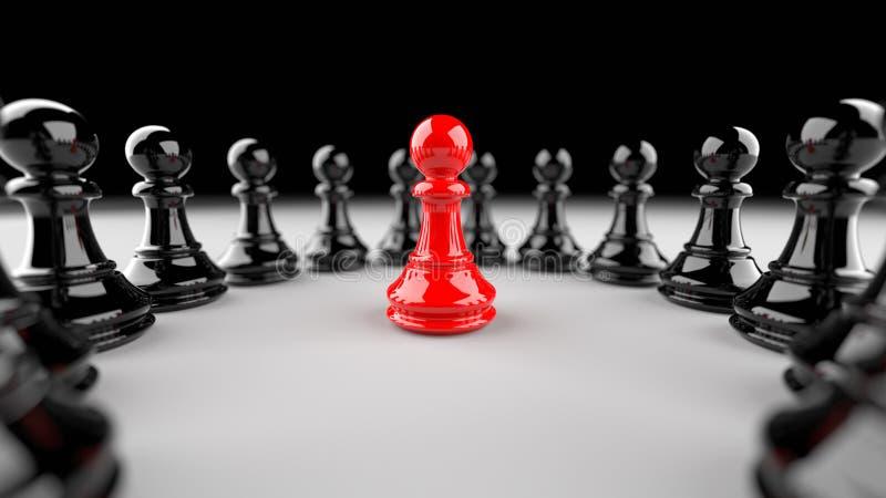 Rött pantsätta av schack royaltyfri illustrationer