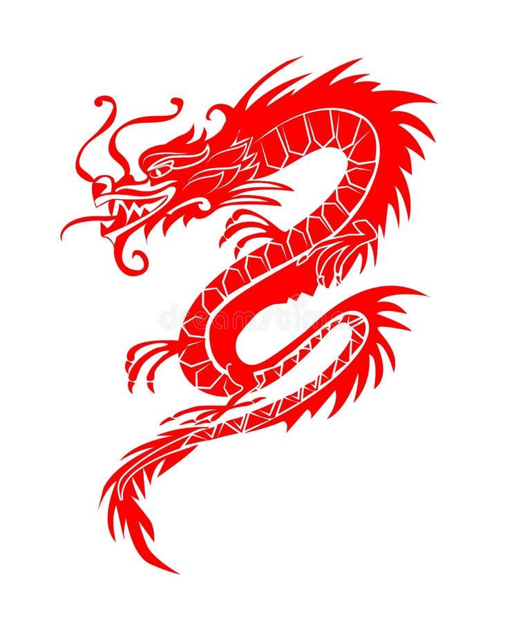 Rött papper klippte ut ur symboler för en drakeporslinzodiak stock illustrationer
