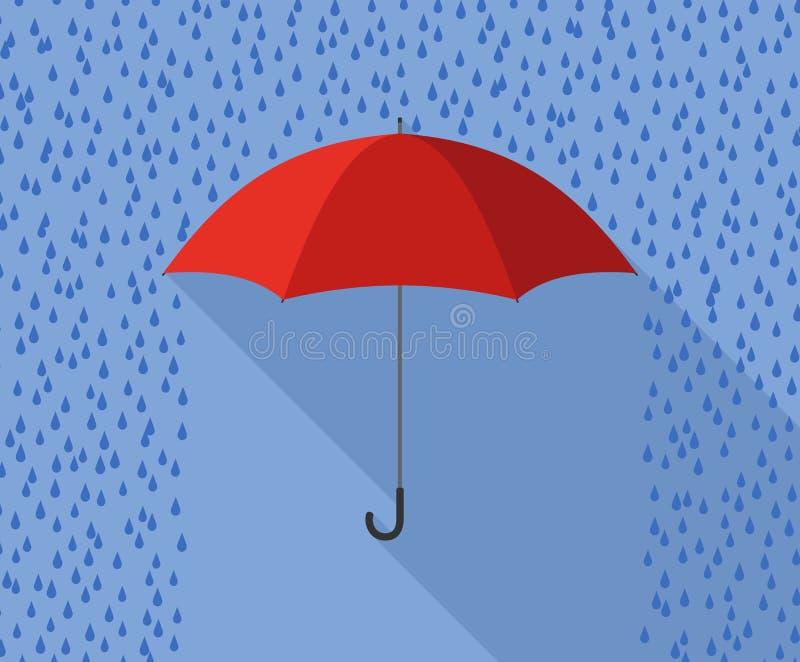 Rött paraply i plan design för regn vektor illustrationer