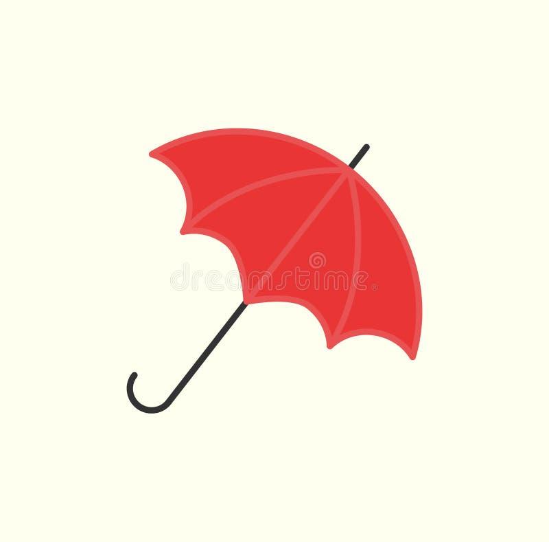 Rött paraply som isoleras på den öppna slags solskydd för vit vektor stock illustrationer