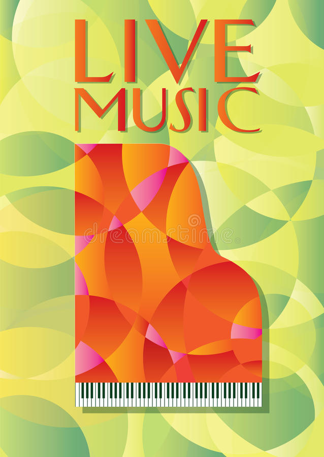 Rött piano på guling- och gräsplanbakgrund vektor illustrationer
