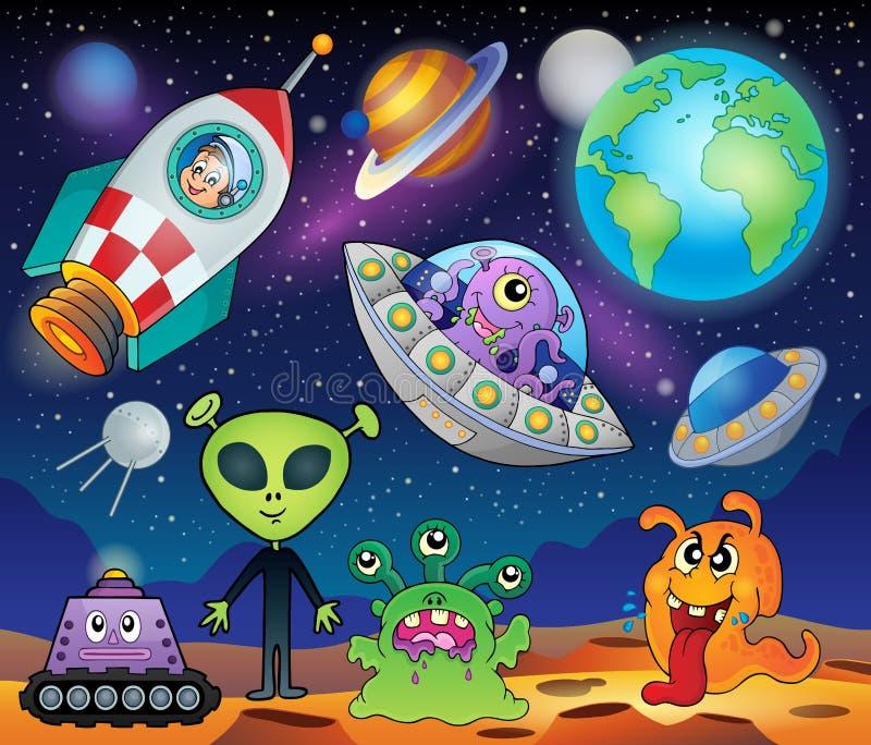 Rött planetfantasitema 1 royaltyfri illustrationer