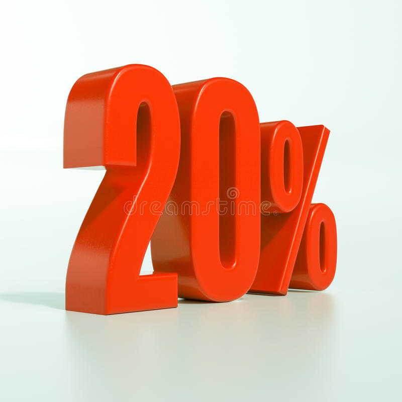 20 rött procent tecken stock illustrationer