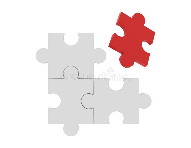 Rött pussel bland vita pussel i det olika begreppet, patt royaltyfri illustrationer