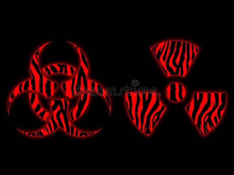 Rött radioaktiv och biohazardsymbol arkivfoton