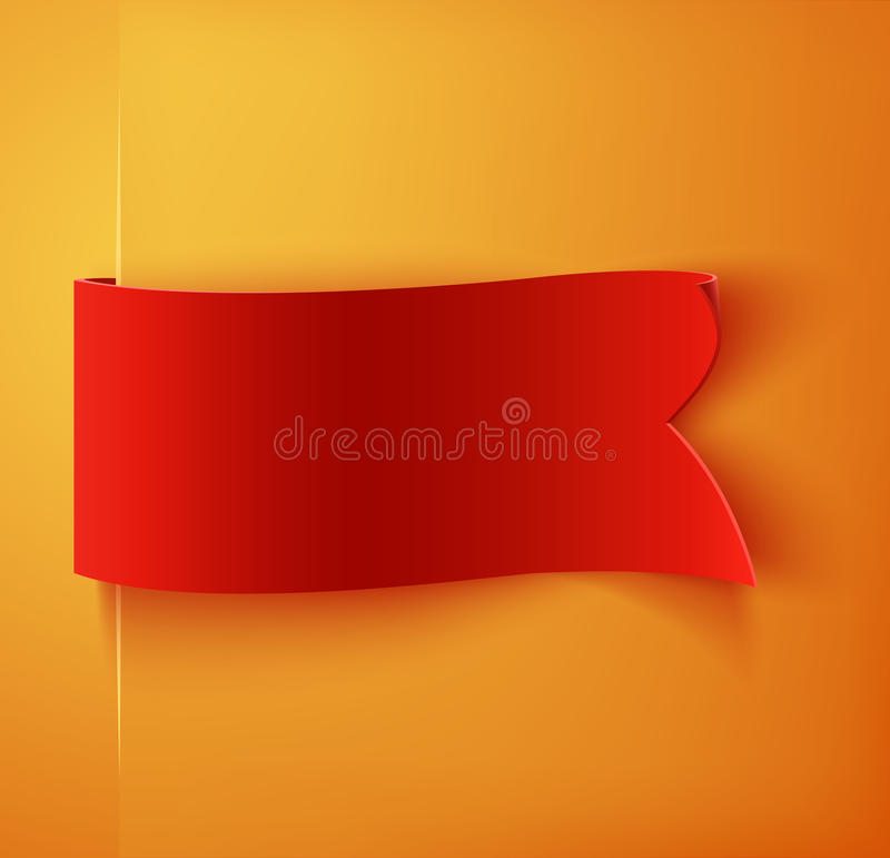 Rött realistiskt mellanrum specificerat buktat pappers- baner royaltyfri illustrationer
