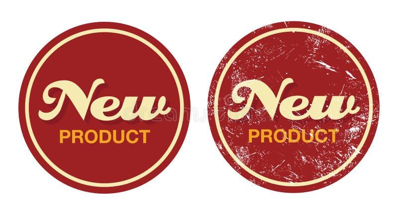 Rött retro emblem för ny produkt - grungestil vektor illustrationer