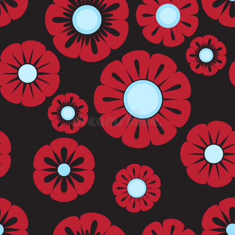 rött retro för blåa blommor royaltyfri illustrationer