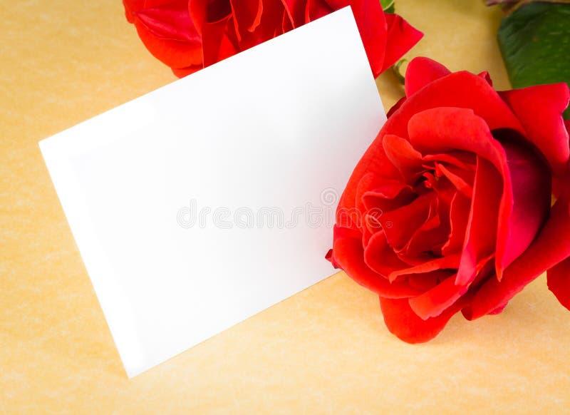 Rött ros- och mellanrumsgåvakort för text på bakgrund för pergamentpapper arkivfoto