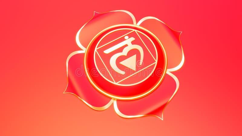 Rött rota begreppet för det Chakra muladharasymbolet av Hinduism, buddism, Ayurveda Grundläggande tolkning för förtroende 3d stock illustrationer
