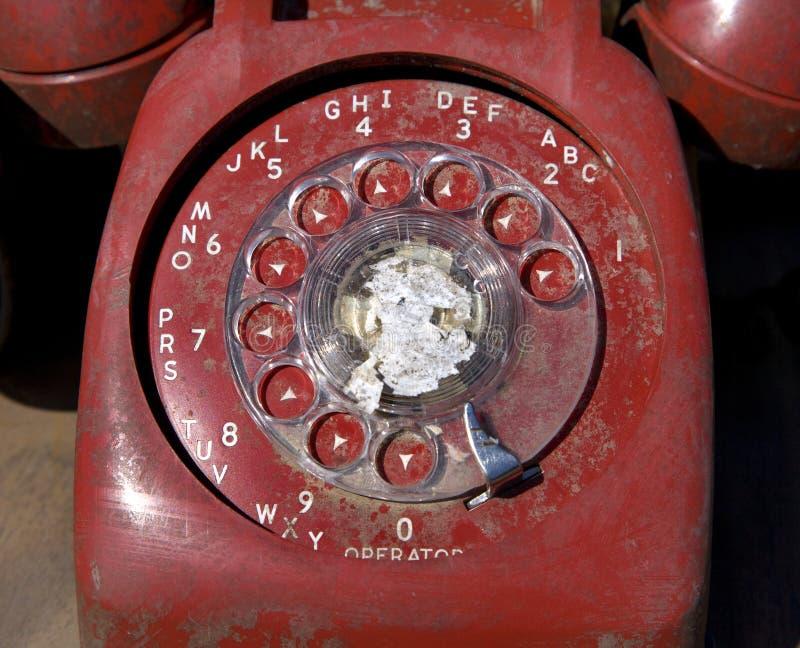 rött roterande för gammal telefon fotografering för bildbyråer