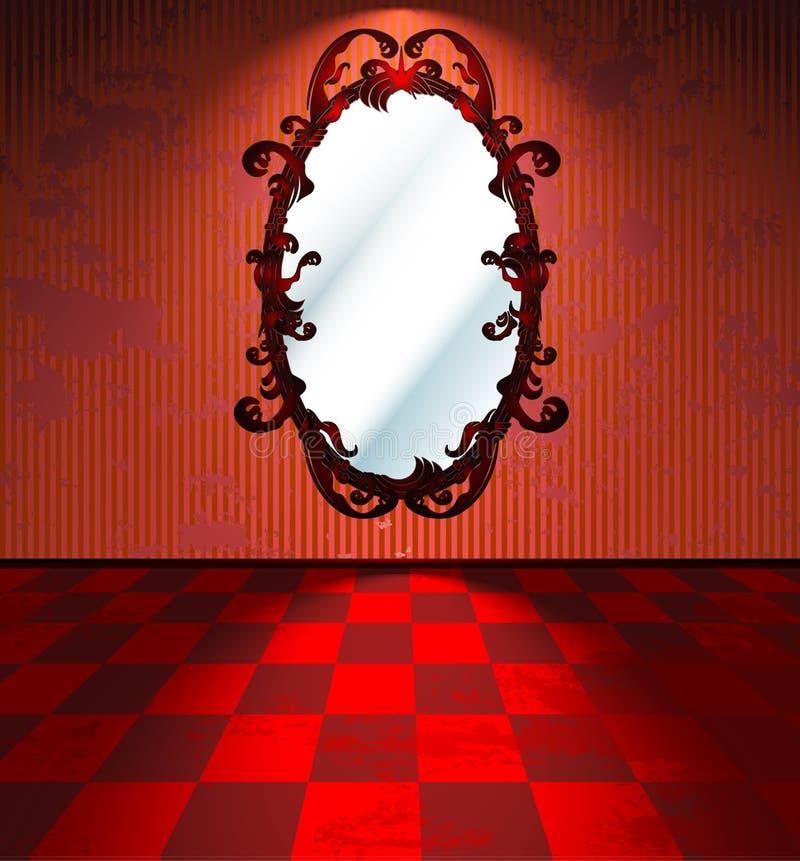 Rött rum med avspeglar vektor illustrationer