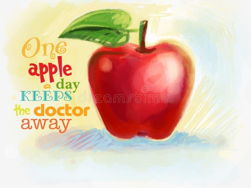 Rött saftigt äpple som dras med färgpennor vektor illustrationer