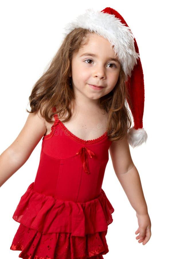 rött santa för barnhatt slitage royaltyfri foto
