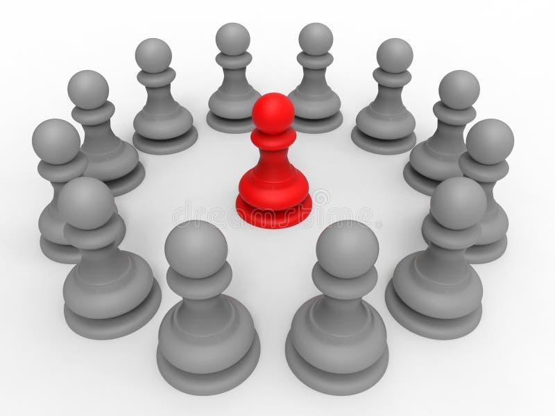 Rött schack pantsätter ledarebegrepp royaltyfri illustrationer