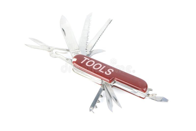 rött schweiziskt hjälpmedel för arméknivmarknadsföringsfack arkivfoton