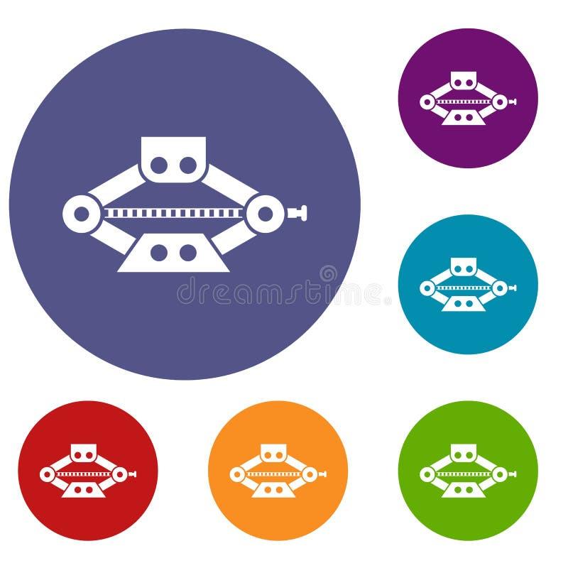 Rött scissor uppsättningen för bilstålarsymboler royaltyfri illustrationer