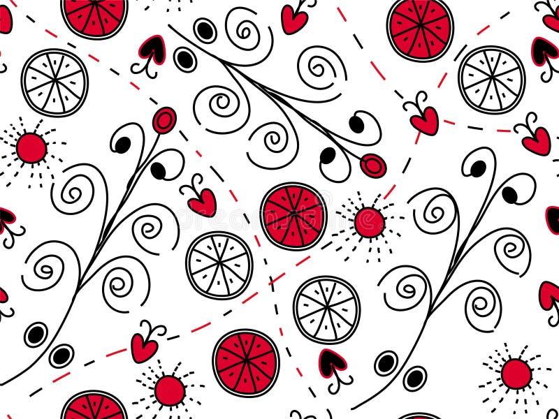 rött seamless för svart modell royaltyfri illustrationer