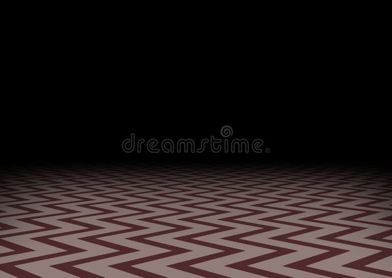 Rött sicksackgolv i mörkret Horisontalabstrakt mörk bakgrund Mystikerrum, vektorillustration stock illustrationer