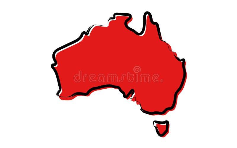 Rött skissa översikten av Australien stock illustrationer