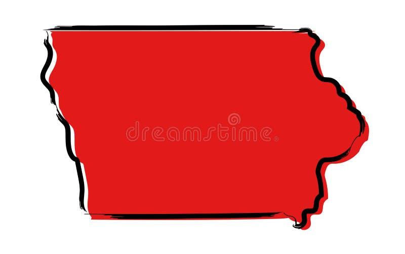 Rött skissa översikten av Iowa vektor illustrationer