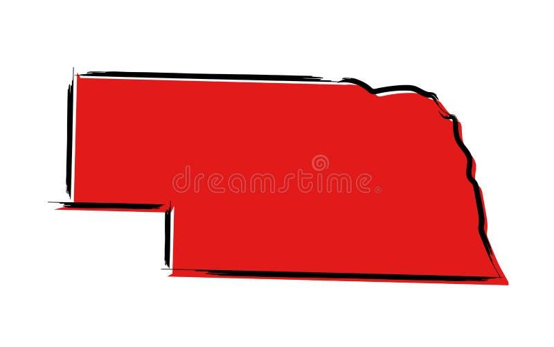 Rött skissa översikten av Nebraska stock illustrationer