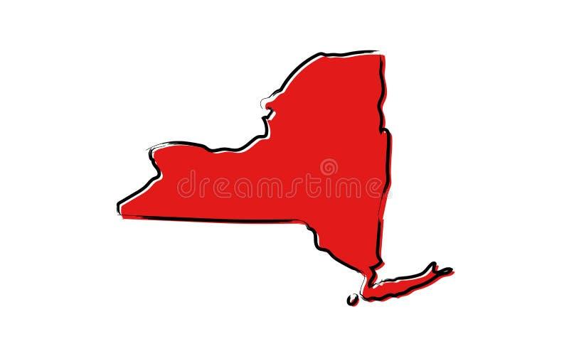 Rött skissa översikten av New York royaltyfri illustrationer