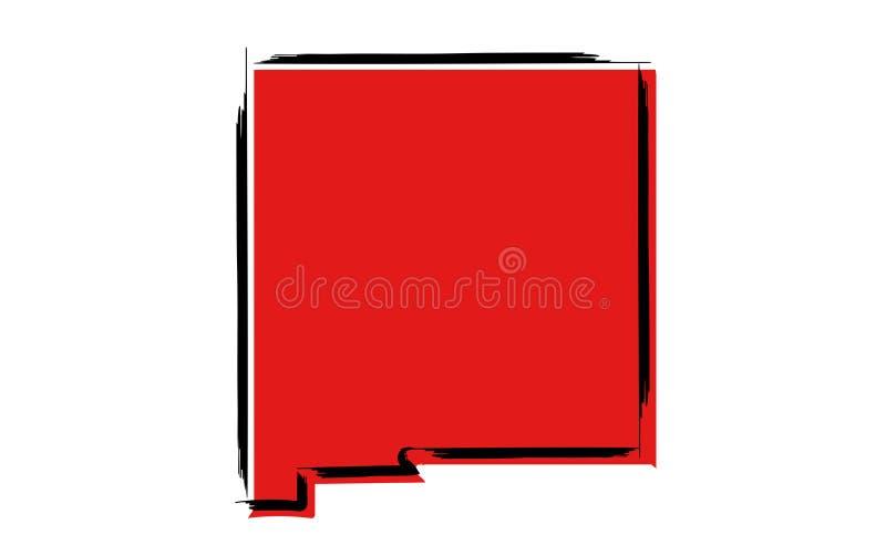 Rött skissa översikten av nytt - Mexiko royaltyfri illustrationer
