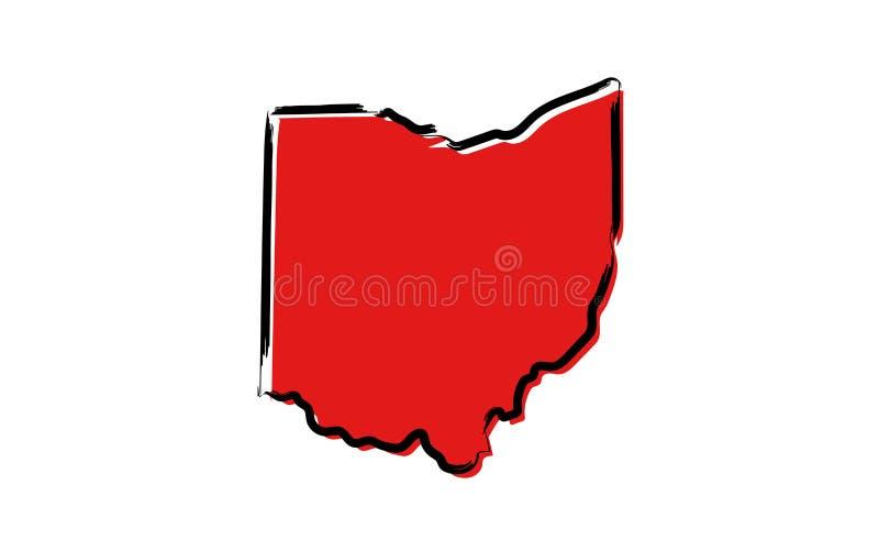 Rött skissa översikten av Ohio stock illustrationer