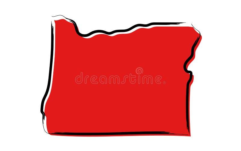 Rött skissa översikten av Oregon vektor illustrationer