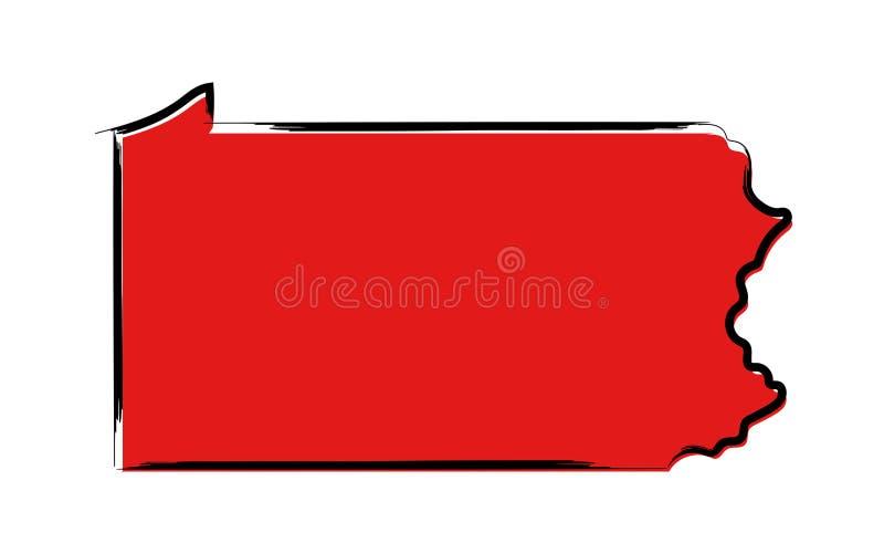 Rött skissa översikten av Pennsylvania vektor illustrationer