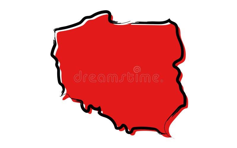 Rött skissa översikten av Polen vektor illustrationer