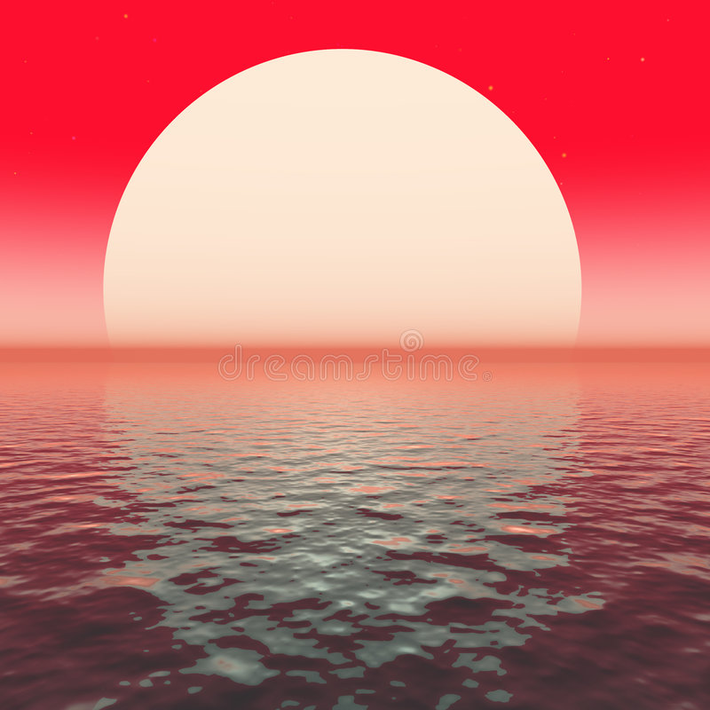 rött solnedgångvatten royaltyfri illustrationer