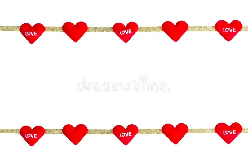 Rött som hjärta-formas med bandet som isoleras på vit bakgrund, clippi arkivbilder
