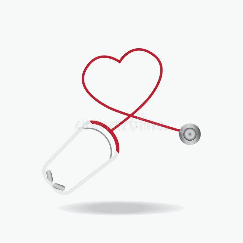 Rött stetoskop i Shape av hjärta som isoleras på vitbakgrund vektor illustrationer
