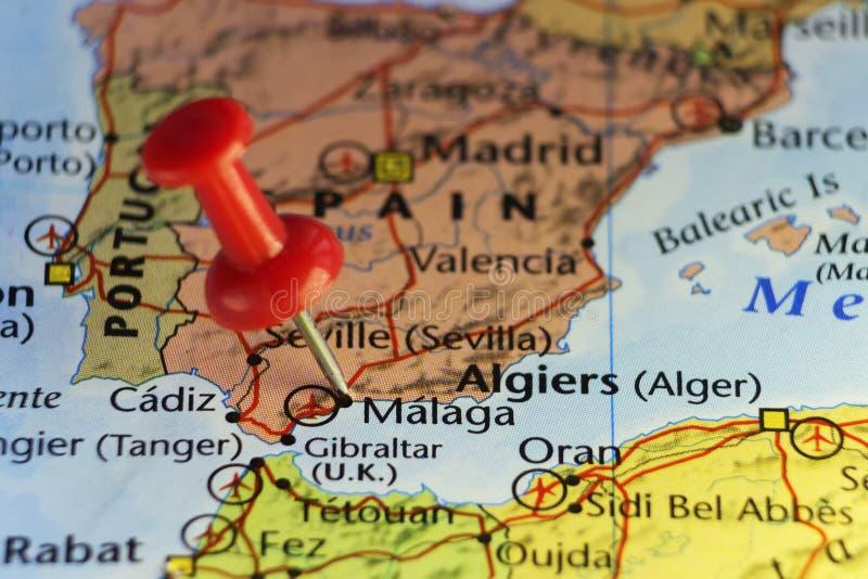 Rött stift på Malaga, Spanien royaltyfri illustrationer