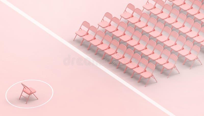 Rött stolgrupp- och företagsledarebegrepp och pastellfärgad rosa bakgrund för modern konst stock illustrationer