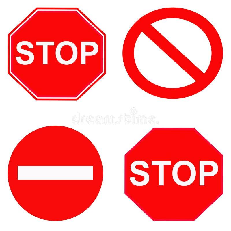 Rött stopp och förbjudet tecken royaltyfri illustrationer