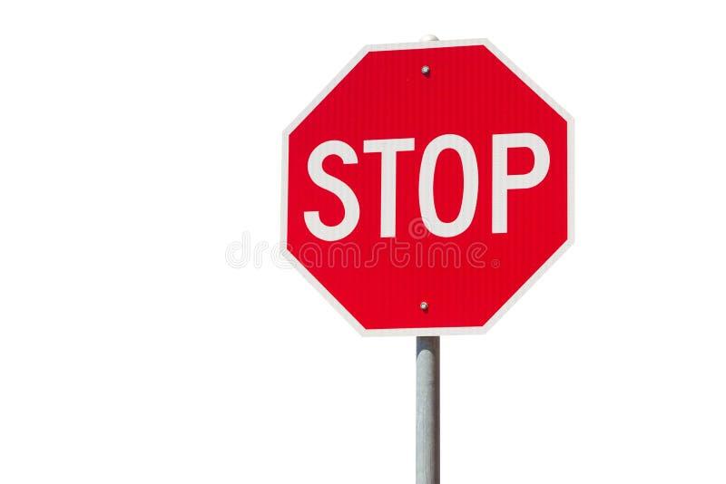 Rött stopptecken som isoleras på vit bakgrund Reglerande varnande tecken för trafik arkivbilder