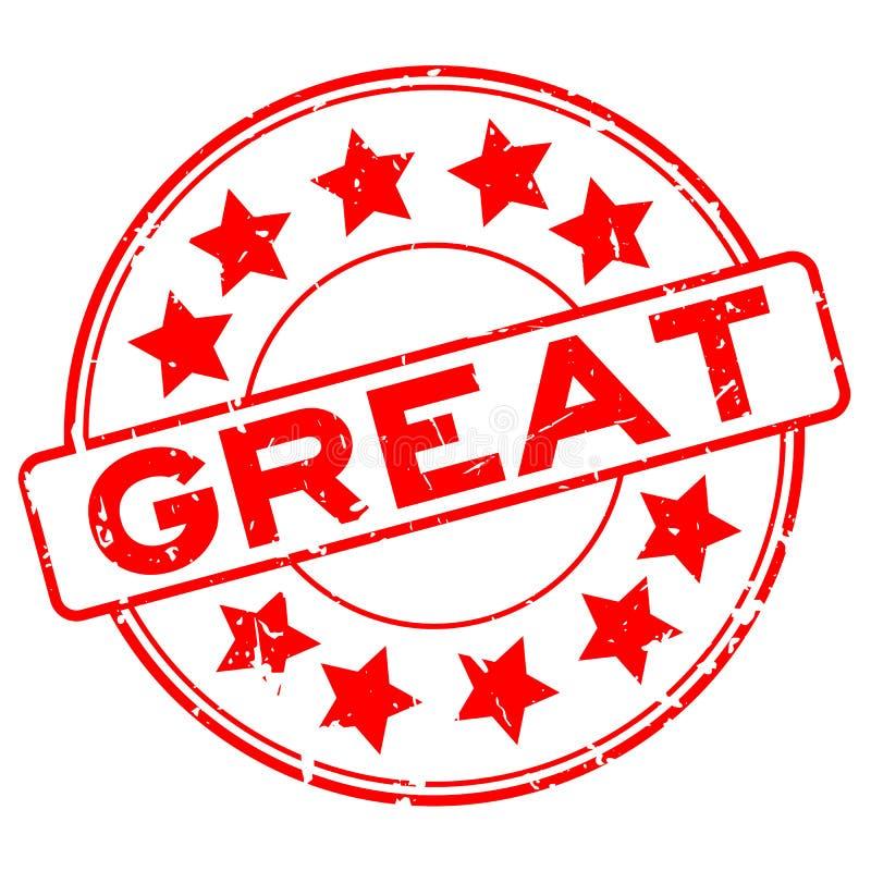 Rött stort ord för Grunge med stämpeln för skyddsremsa för gummi för stjärnasymbolsrunda på vit bakgrund stock illustrationer